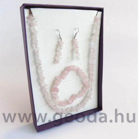 Rózsakvarc szett (nyaklánc, karkötő, fülbevaló)