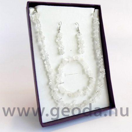 Hegyikristály szett (nyaklánc, karkötő, fülbevaló)